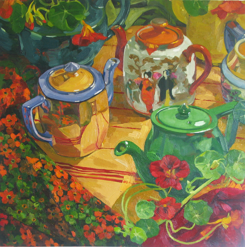 TEA POTS WITH NASTURTIUMS