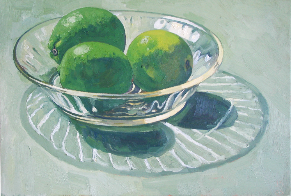 THREE LIMES IN GLASS BOWL