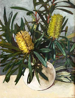 BANKSIA IN WHITE VASE