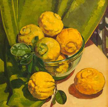 BUSH LEMONS IN GREEN GLASS